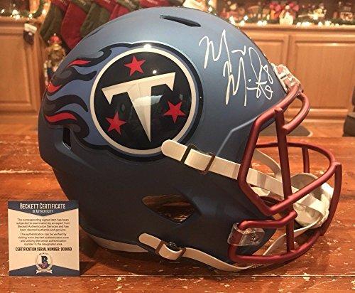 Marcus Mariota Signed Tennessee Titans Full Size Blaze Helmet Beckett - Ti Blaze