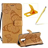 Strap Leather Case for Samsung Galaxy A6 Plus 2018,Wallet Leather Case for Samsung Galaxy A6 Plus 2018,Herzzer Premium Stylish Pretty 3D Yellow Butterfly Printed Bookstyle Magnetic Full Body Soft Rubber Flip Portable Carrying Stand Case with Card Holder Slots