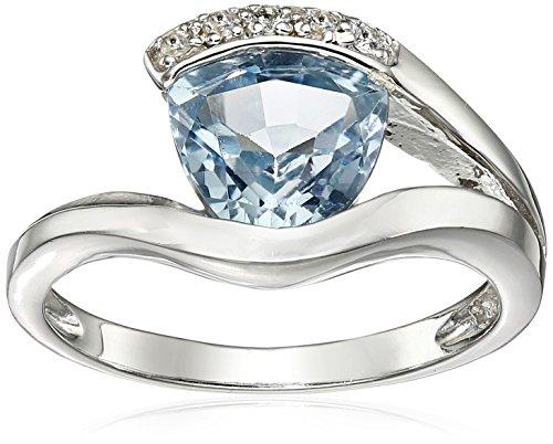 Sterling Silver Blue Topaz Ring, Size 6 - Topaz Trillion Ring