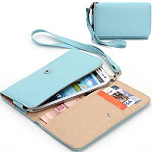 EXXIST® Classic Design Patent Leather Wallet / Clutch for Alcatel One Touch Idol Ultra OT-6033X TCL S850 (Color: Baby Blue) -ESMXWLB1