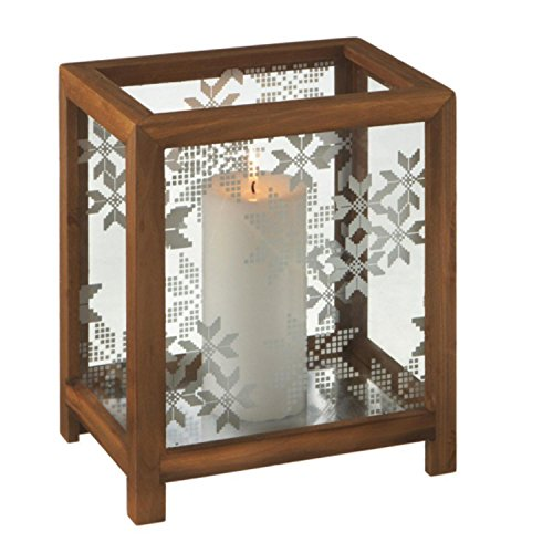 "10"" Rustic Wooden Box Snowflake Pillar Candle Christmas Table Top Holder"