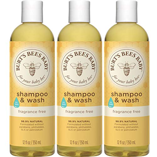 Burt's Bees Baby Shampoo & Wash, Fragrance Free & Tear Free Baby Soap - 12 Ounce Bottle - Pack of 3
