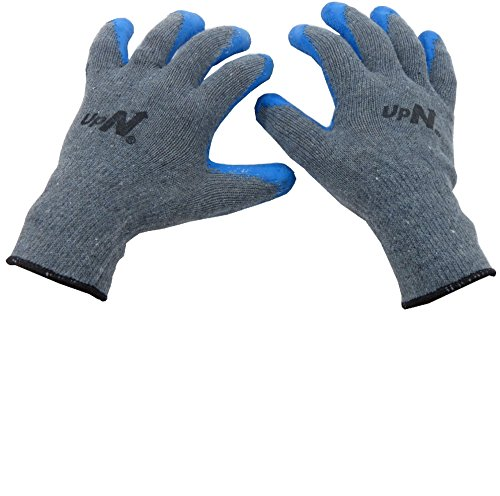 UpNorth 10 Gauge Cotton Knit Work Gloves, Textured Rubber Latex Palm Dipped/Coated for Construction, 6-Pairs, Men's Large (Palm Gloves Work Coated)