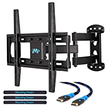 """Mounting Dream MD2377 TV Wall Mount Bracket with Full Motion Articulating Arm (15"""" Extension) for most of 26-55 Inches LED, LCD and Plasma TVs up to VESA 400x400mm and 66lbs, with Tilt, Swivel, and Rotation Adjustment, Including 6 ft HDMI Cable and M"""