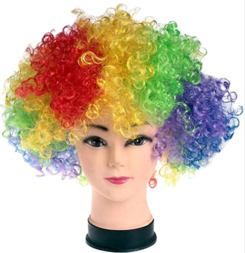 ACE SHOCK Clown Cosplay Wig Adults, Kids Synthetic Afro Halloween Costume Hair Funky Style (Multi-Colored)