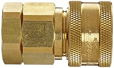 """Snap-Tite BVHC4-4F Brass H-Shape Quick-Disconnect Hose Coupling, Sleeve-Lock Socket, 1/4"""" NPTF Female x 1/4"""" Coupling Size"""