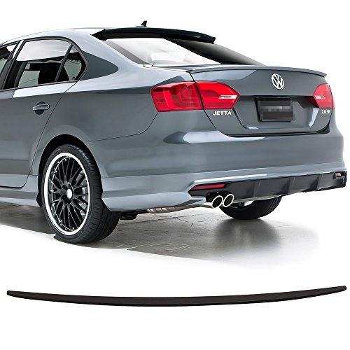 Trunk Spoiler Fits 2011-2018 Volkswagen Jetta | Factory Style Matte Black ABS Car Exterior Trunk Rear Wing Tail Roof Top Lid by IKON MOTORSPORTS | 2012 2013 2014 2015 2016 2017