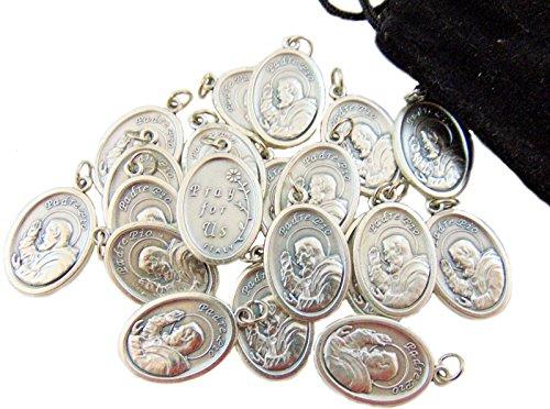 Westman Works Bulk Medal Lot Set of 20 St Pio Metal Saint Pendant W Bag From Italy