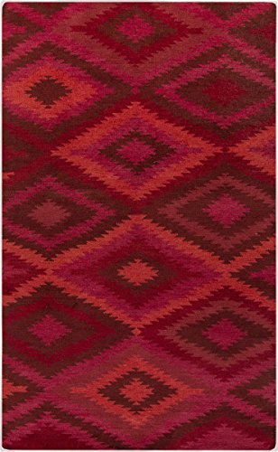 Surya MES9000-23 Hand Knotted Casual Accent Rug, 2 by 3-Feet, Burgundy/Coral/Carnation