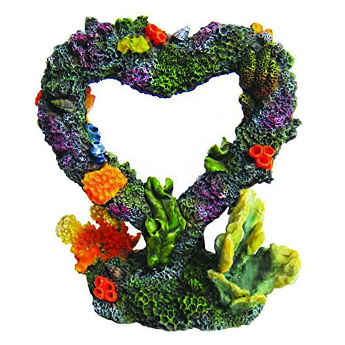 Heart Fish - Siger Aquarium Ornaments Resin Big Heart Aquarium Supplies for Theme Decorations Fish Tank Aquatic Plants Accessories