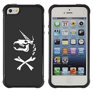 Be-Star único patrón Impacto Shock - Absorción y Anti-Arañazos Funda Carcasa Case Bumper Para Apple iPhone 5 / iPhone 5S ( Unicorn Bones Funny Grey Skull Horn )