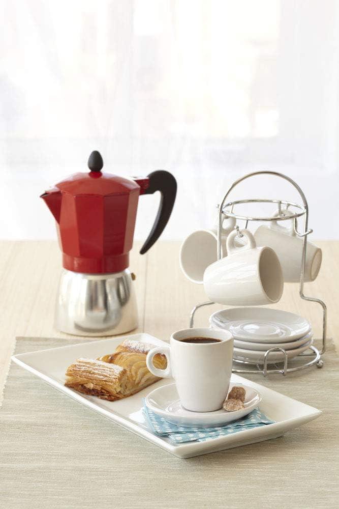 IMUSA USA A120-22182T 8-Piece Espresso Coffee Cup with Chrome Rack Set Orange Beige Brown