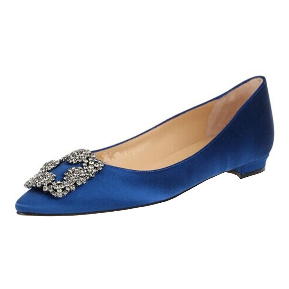 Caitlin Pan Femmes Escarpins Classique Talons Robe Hauts Escarpins Satin Bout Caitlin Pointu Diamants Talon Aiguille Chaussures de Robe Blue-flat fbd392c - reprogrammed.space