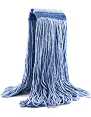 24 oz Cotton Easy Wring Saddle Mop Head Refill, 24 oz Heavy Duty Looped-End String Swinger Style Replacement Mop Head, for Home, Commercial, and Industrial Use