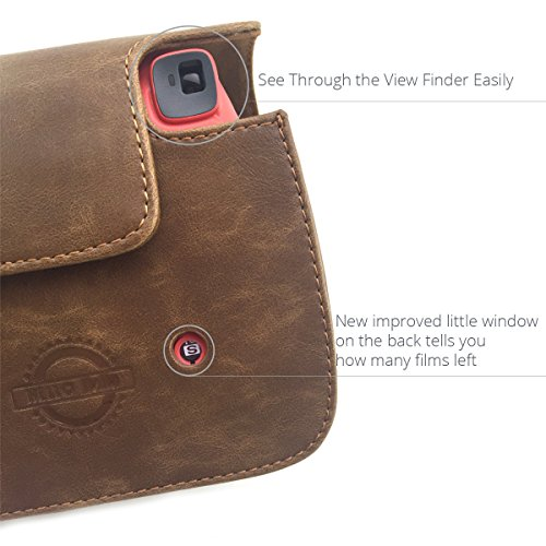 HelloHelio Classic Vintage PU Leather Compact Case with Strap for Fujifilm Instax Mini 9/8 / 8+ Instant Film Camera - Brown