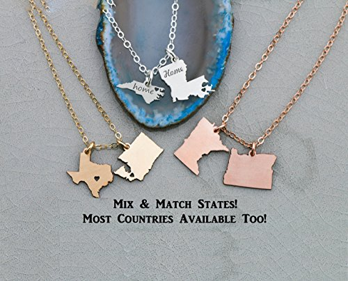 Two State Country Necklace - IBD - Best Friend Graduation Gift Custom Heart Locations - 935 Sterling Silver 14K Rose Gold Filled Charm - 3/4 Inch 19.05 MM - Graduate