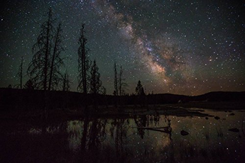 Yellowstone National Park Photo | Firehole Lake Drive & Milky Way | Photographer: Neal Herbert | Giclee Photographic Art Print (Lake Park Yellowstone National Drive)