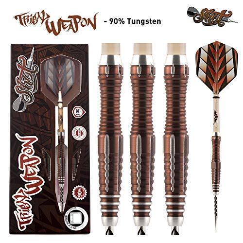 Shot! Darts Tribal Weapon-Steel Tip Dart Set-Front Weighted-90% Tungsten Barrels -