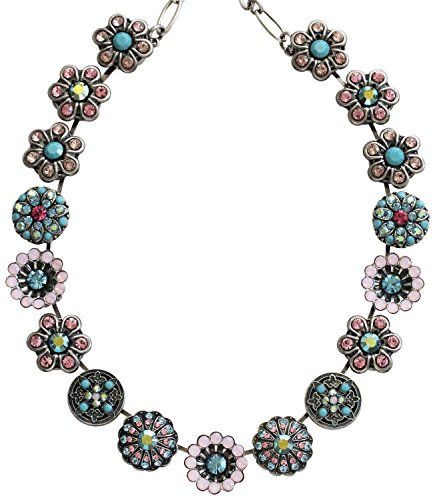 Mariana Silvertone Statement Flowers Crystal Necklace, ''Summer Fun'' Multi 3138 3711 by Mariana