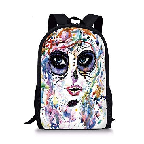 School Bags Sugar Skull Decor,Halloween Girl with Sugar Skull Makeup Watercolor Painting Style Creepy Decorative,Multicolor for Boys&Girls Mens Sport Daypack]()