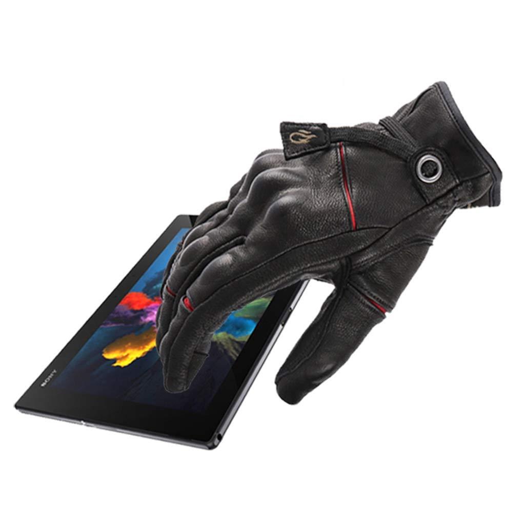 HU Leder Herbst und Winter Leder HU Handschuhe Touchscreen Drop-Proof Warm Winddicht Motorrad Riding Retro Handschuhe 6d1aaf