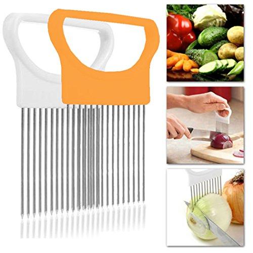 Onion Holder for Slicing, Tomato Vegetable Lemon Potato Cutter Slicer Chopper Odor Remover (White+Orange) ()