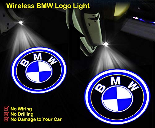 2Pcs Universal Wireless Car Door LED Projector Light for BMW, Car Courtesy Welcome Logo Shadow Ghost Light, Laser Emblem Logo Lamps (Emblems Sill Door)