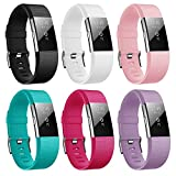 Kutop For Fitbit Charge 2 Bands, Soft Silicone Sports Fitness Accessory Large Small Replacement Strap Bands for Fitbit Charge 2 HR Wristband Women Men Girls Boys