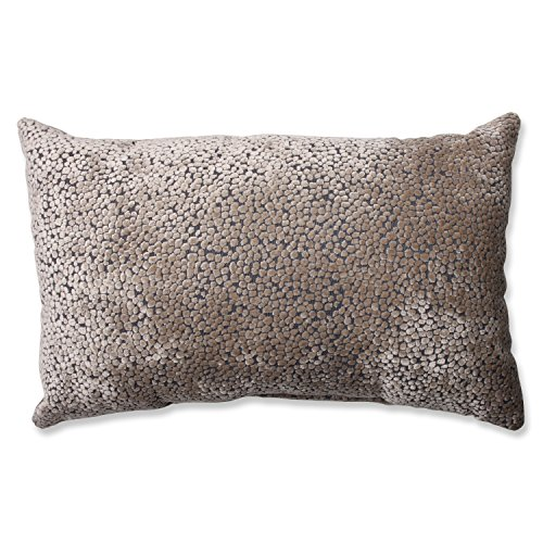 Pillow Perfect Tuscany Dots Flax Cut Velvet Rectangular Throw Pillow