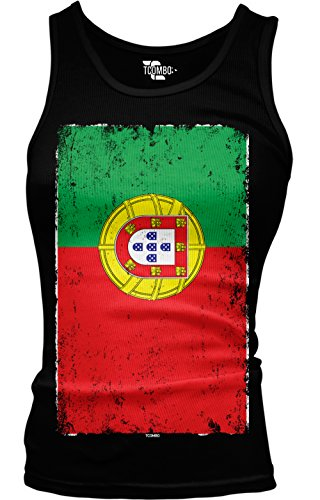 Tcombo Big Distressed Portugal Portuguese Flag Girls/Juniors Tank Top T-shirt (Medium, - Portugal Women