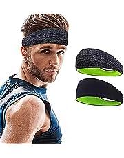 Sports Headband, Headwear Head Band, Headband, Non Slip Sweatband Stretchy Wicking Hairband for Football, Basketball, Soccer, Running, Yoga and Golf (2 Pack)