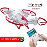 "TechRC TR003 RC FPV Drone Quadcopter with 2.0MP HD Camera Live Video 6-Axis Gyro 5.8G with 4.3"" Display Screen Altitude Hold Headless remote control 3D Flips One Key Landing for Beginner"