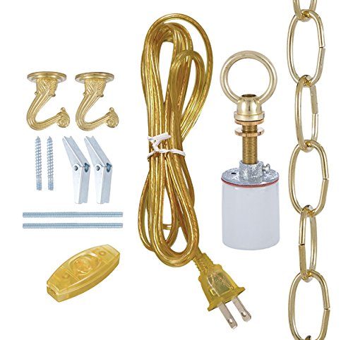B&P Lamp Brass Swag Lamp Kit For Fabric Shades (Light Kit Mica)