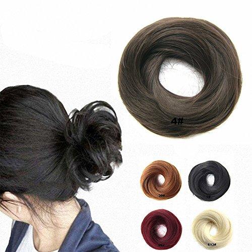 FESHFEN Scrunchy Scrunchie Hairpieces Elastic Messy Hair Bun Ponytail Hair Extensions Wig Drawstring4# Medium Brown