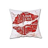 ZLOLIA Happy Valentine Pillow Cases Linen Sofa Cushion Cover Home Decor Pillow Case (B)