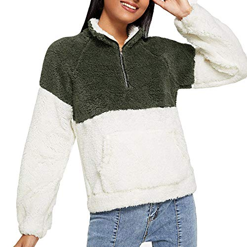 Green DEELIN Blouse Long Sleeve Plush Long Sleeve Tops Sweatshirt Clothes Pockets Velvet Sweater Winter Coats Clearance Womens Sale Turtleneck Zipper raHSrF