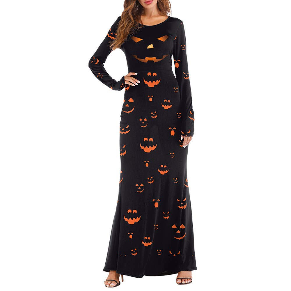 Liraly Womens Dresses New Fashion Women Long Sleeve Pumpkins Halloween 4D Print Casual Party Long Maxi Dresses Casual Skirts (Black ,US-8 /CN-L)