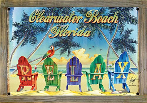 Northwest Art Mall Relax Chairs Clearwater Beach Florida Metal Print on Reclaimed Barn Wood by Jim Mazzotta (12