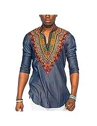 Deylaying Men African National Style Shirt Printed V-neck Short-sleeved T-shirt