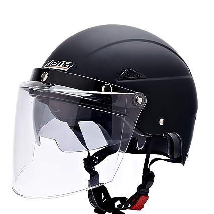 HJL Casco de Coche eléctrico Casco de Motocicleta Femenino Macho de Cuatro Estaciones con Doble Lente