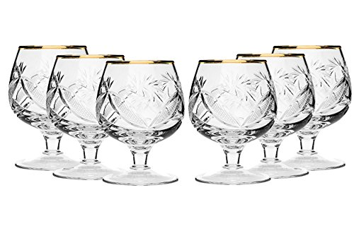 SET of 6 Russian Cut Crystal Cognac Scotch Whiskey Stemmed Snifter Goblet Glass 24K Gold Rimmed 7 Oz. Vodka Liquor Old-fashioned Glassware Hand Made