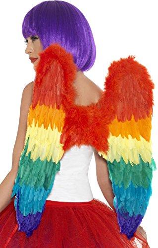 Ladies Mens Adults Rainbow Feather Wings Pride Carnival