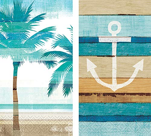 - Design Design Guest Towels Collection Bundle of 2 Patterns (Palm Stripe & Boardwalk-Anchor, 30 Towels)