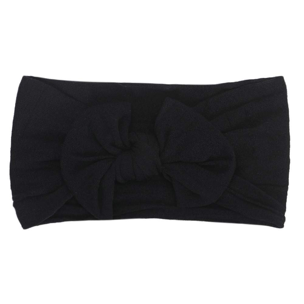 Cyhulu Baby Girl Nylon Headbands Newborn Infant Toddler Hairbands and Bows Child Hair Accessories (Black, One size)