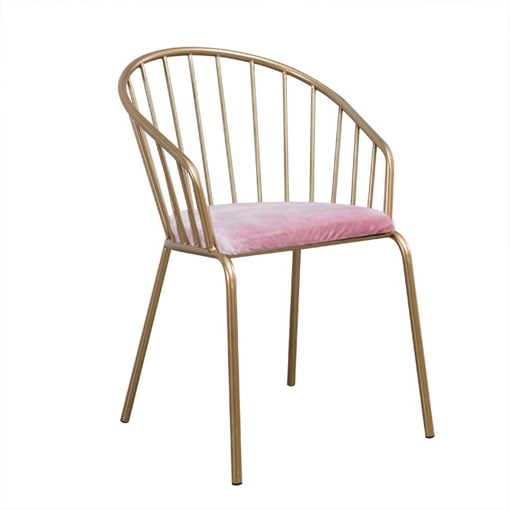 Pink Iron Makeup Chair Bar Stool Dining Vanity Chair Flannel 1pcs Non-Slip for Restaurant Club Balcony Bar Stool Lounge,Pink