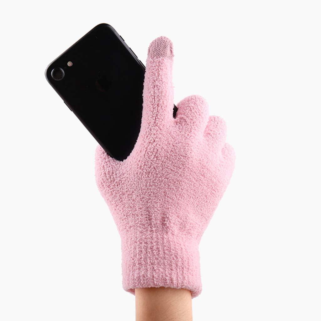 qingqingR Guanti Invernali da Donna Spessi Corallo Spesso vevet a Maglia Calda Tinta Unita magici Touchscreen SMS Polsino Elastico Freddo Guanti