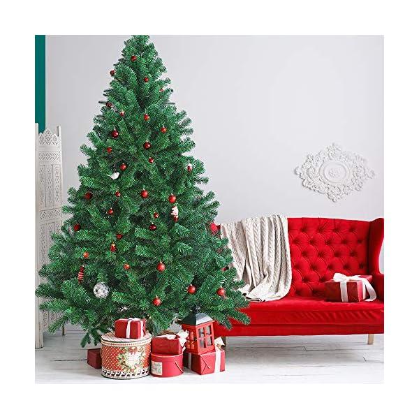 OUSFOT Albero di Natale 180cm con Custodia 800 Rami Supporto Pieghevole in Metallo Alberi di Natale Artificiale PVC Facile da Montare per Natalizie Decorazioni da Interno e All'aperto 3 spesavip