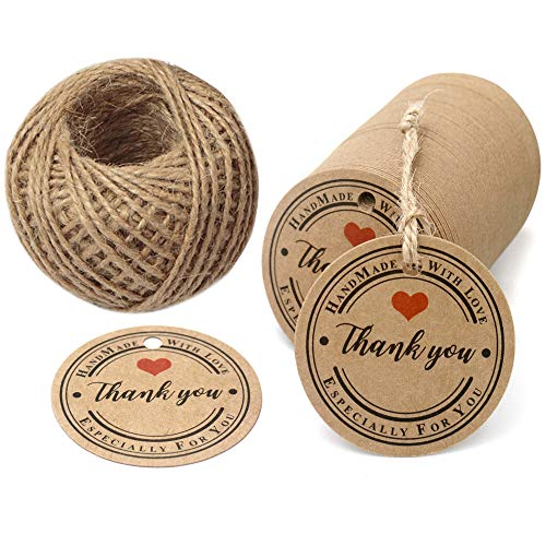 Thank You TagsHandmade TagsGift Wrap Tags100 Pcs Hand Made with Love Especially for You Kraft Paper Round Gift Tags with 100 Feet Jute Twine Brown