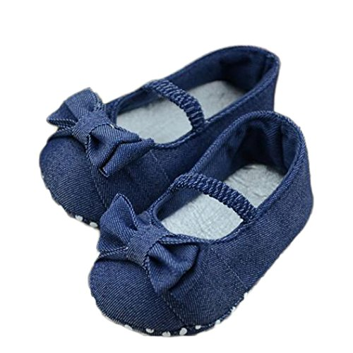 Voberry® Baby Girls Soft Soled Bowknot Crib Denim Moccasins Mary Canvas Jane Shoes (8~12Month, Blue)