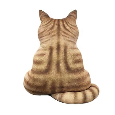 Impreso 3D lindo gato Volver almohada rellena felpa suave del juguete de dibujos animados animales juguetes de la muñeca: Hogar